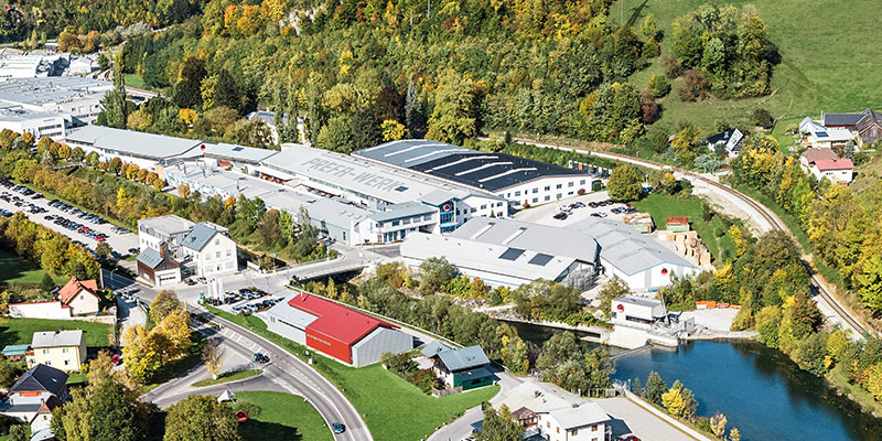 Aerial photo of PREFA's Austrian production site in Marktl bei Lilienfeld