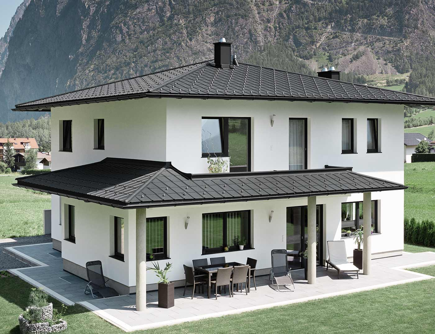 Reference buildings PREFA Roof systems Roof tile 03 black (own colour)