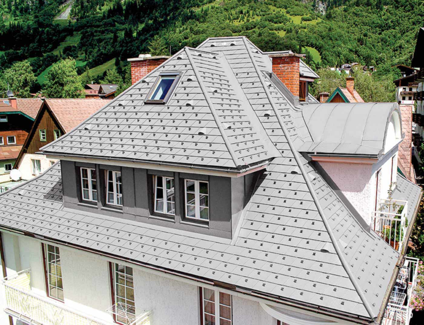 Reference buildings PREFA Roof systems Shingle 13 plain aluminium