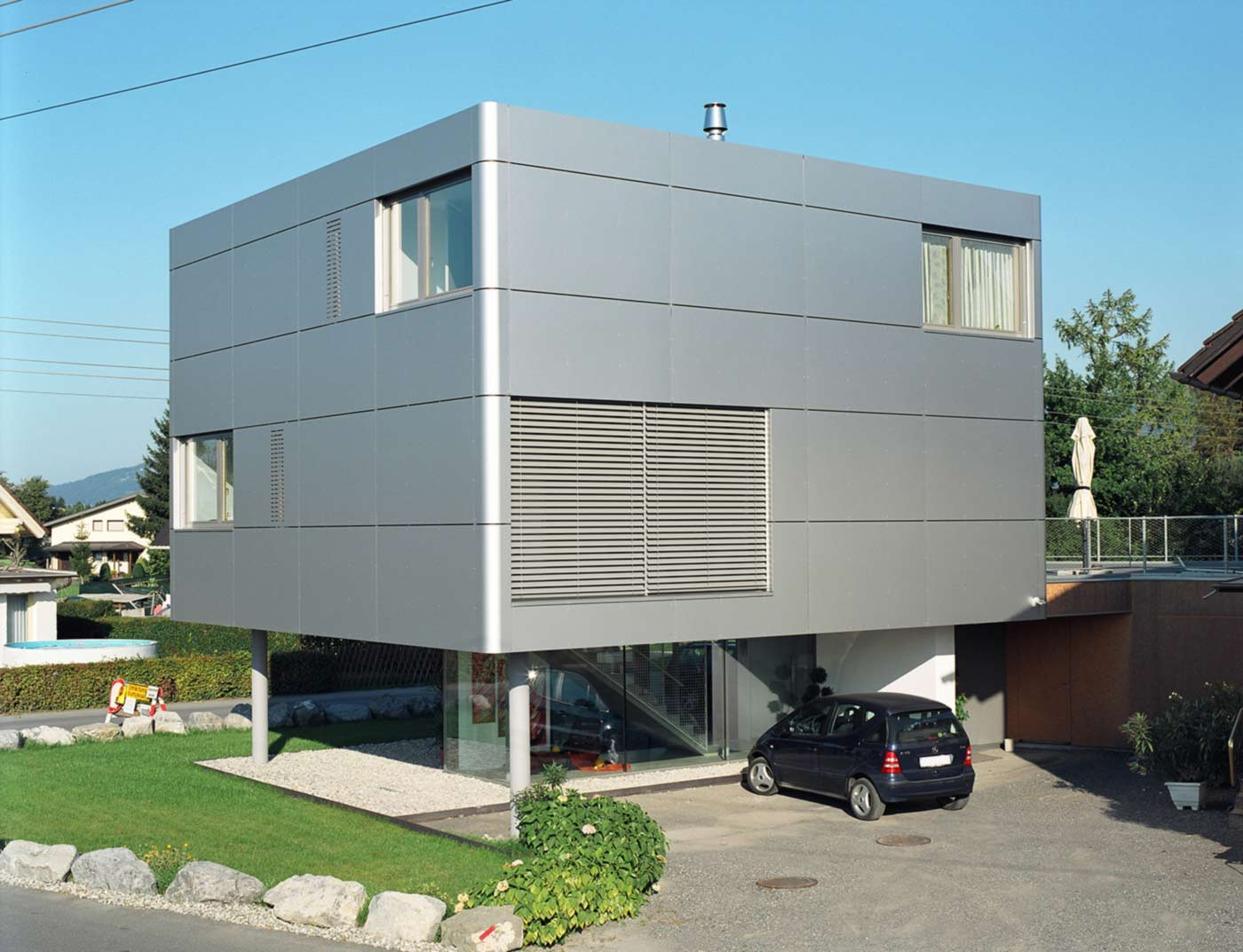 Reference buildings PREFA Façade systems Aluminium composite panel 12 metallic silver (similar to RAL 9006)